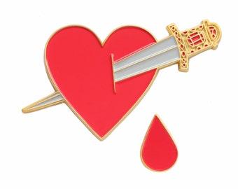 Bleeding heart enamel lapel pin/brooch set