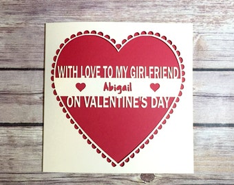 Girlfriend Valentines Card, Personalised Valentine Card, Valentine's Day, Valentine, Valentine for Girlfriend, Handmade Valentine, Love Card