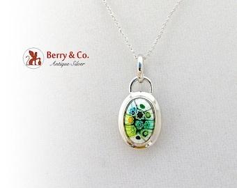 SaLe! sALe! Art Glass Pendant Necklace Sterling Silver