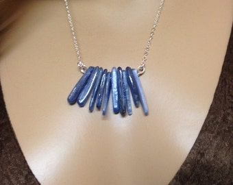 Kyanite and silver necklace-blue Kyanite wands- sticks-polished Kyanite