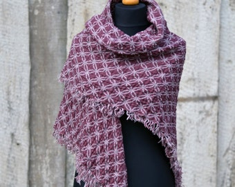Double Sided Aubergine Color Linen Shawl. Pure Linen. Fringes on all sides. Soft and gentle. Pre-washes and pre-softened. Ready to ship