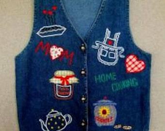 Veste de Denim bleu Appliqued & brodé fête des mères cadeau cadeau Unique fait à la main en Californie embelli rêves Designer de vêtements pour elle