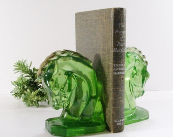 Vintage Horse Head Bookends, Mid Century Green Acrylic Horse Bookends, Lucite Horse Heads