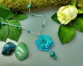 Hand Crocheted Rose Pendant Microcrochet Necklace Turquoise Amazonite SterlingSilver Cotton Flower Natural Nature Inspired Summer Botanical