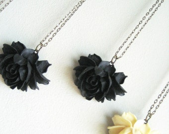 black, ivory, creamy beige...rose flower romantic and elegant vintage necklace