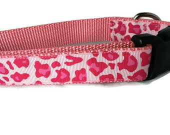 Dog Collar, Pink Camo, 1 inch wide, adjustable, quick release, medium, 15-22 inches