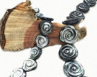Black Mother of Pearl FLower Beads  2 sided - hole side drilled