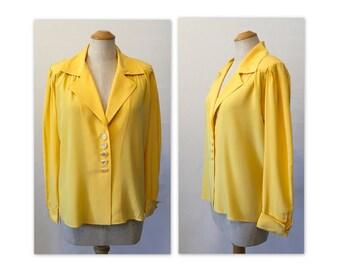 Vintage des années 80 M chemisier en soie jaune S YSL Rive Gauche Yves Saint Laurent