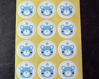 Set of 48 labels stickers round bear 3.5 cm