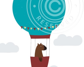 Bear in hot air balloon // Cute greeting card bear