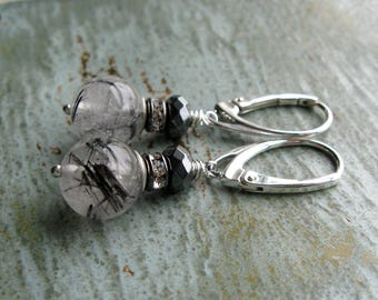 Tourmalinated Quartz Earrings-Sterling Silver-Hematite-European Leverbacks-Rhinestone-Dark Grey-Black-White-Special Occasion Jewelry