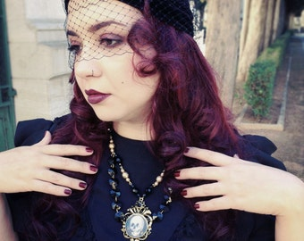Mourning Jewelry - All is vanity neckpiece - Victorian Style