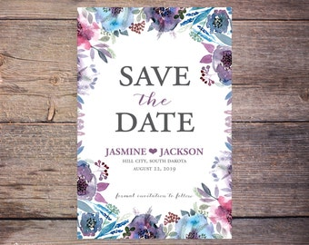 Save the Date Invite, Floral, Flower, Save-the-Date Card, DIY, Printable Digital File – Jasmine