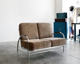 Flat Iron Love Seat, Custom Made, 1930s Inspired