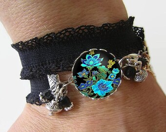 Bracelet Cotton spandex with a 18 mm cabochon * flowers * (050218)
