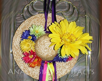 Bright Gerbera Daisy and Straw Hat Door Decor - Summer Wreath - Spring Wreath