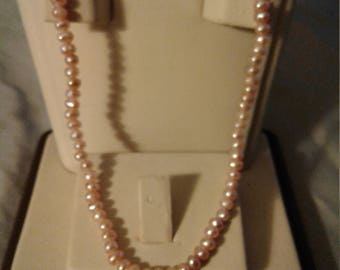Pink fresh water pearl necklace sterling clasp