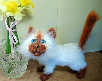 Siamese Cat Stuffed animal Plush Funny cat Sculpture cat Plush toy House warming Interior toy Knitted Cat Plush toy Gift birthday Cute  cat