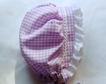 Purple Gingham BONNET Sunhat Sunbonnet sizes newborn,3,6,9,12,18,24 mo.2T,3T,4T