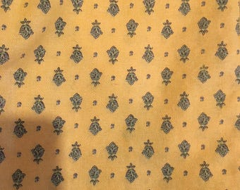 Provencal fabric, a sunny yellow with an overall motif, 100% cotton fabric from France.