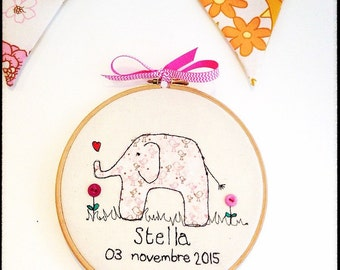 """New Baby Free Motion Embroidery Personalised Art Embroidery 8"""" Hoop"""