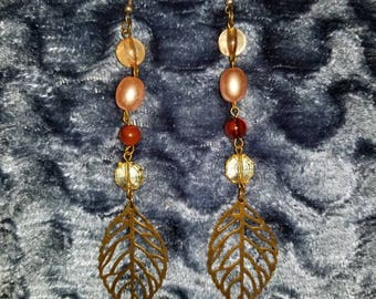 Beaded Leaf Earrings