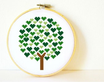 Counted Cross stitch Pattern PDF. Instant download. Tree of Hearts. Includes easy beginner instructions.