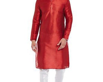 Indian Art Silk Shirt Kurta Orange Printed tunic Plus size Loose fit Big and Tall