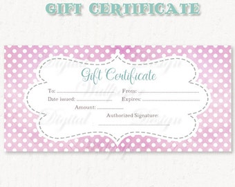 Printable Gift Certificate,Watercolor Gift Certificate, Gift Certificate Download,Watercolor Polka Dot Gift Card, Watercolor Gift Card