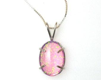 Pink Opal Lab Grown Gemstone Cabochon Triplet Necklace (N2012)