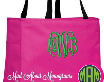"""Monogrammed Tote Bag - The """"Arden"""" Tote - 20 Colors - Bridesmaids, Graduation, Mother's Day, Birthday, Just Because!"""