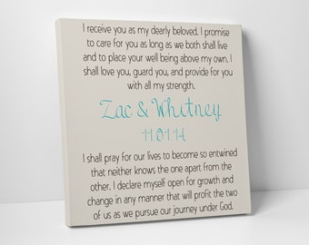 Gift for Him, Wedding Vows on Canvas