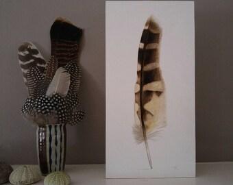 Original Owl Feather Painting, original watercolor, art, boho decor, home decor, modern design, nature art, beach decor