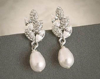 ASHTYN, Vintage Inspired Bridal Wedding Stud Earrings, Filigree Leaf Swarovski Crystal and Pearl Wedding Bridal Earrings, Art Deco Jewelry