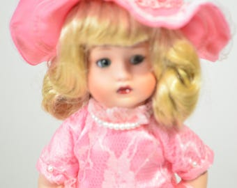 Beautiful Vintage Pink Lace Dress Hat Doll Figurine