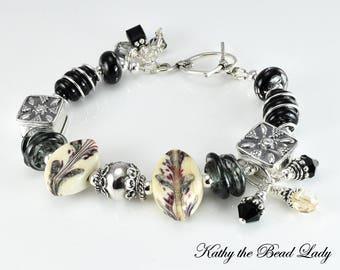 Lampwork Bracelet - Lampwork Black Bali Silver Bead Bracelet - KTBL