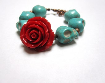 Sugar Skull Bracelet Day Of The Dead Jewelry Red Rose Turquoise Blue Strand