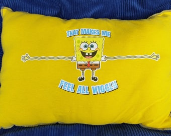 Feel All Wiggly-Upcycled Safe-Sex Pillow, w/ Condom & Lube Pockets, OOAK, yellow, blue, cartoon, long arms