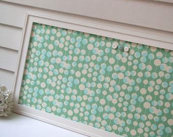 "Magnetic Bulletin Board - 17.5 x 33"" Framed Magnet Board organizer in Shabby Chic Teal Green Aqua Designer Fabric - Memo Message Board"