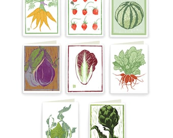 BLBOX: Block Print Vegetable Boxed Assortment of 8 Cards