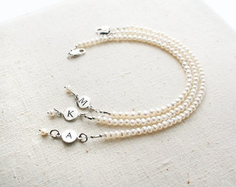 Bridesmaid Bracelet, Pearl Bracelet, Initial Bracelet, Personalized Jewelry, Bridesmaid Gift