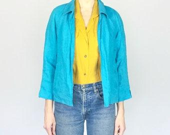 Turquoise 100% Irish Linen Jacket (M)