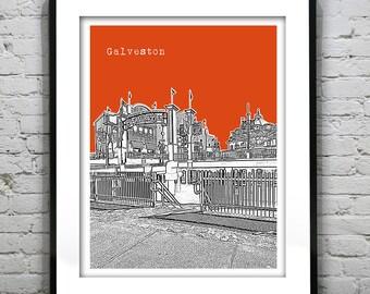 Galveston Skyline Poster Art Print Texas TX Version 4