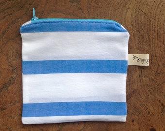 Mini stripy cotton striped cosmetic pouch