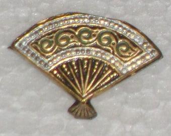 Damascene style golden brooch a hand fan 50s