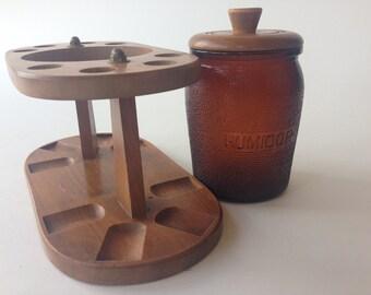 Vintage Walnut 8 Pipe Stand Humidor Duraglas Amber Glass Holder Dun-Rite-Wood