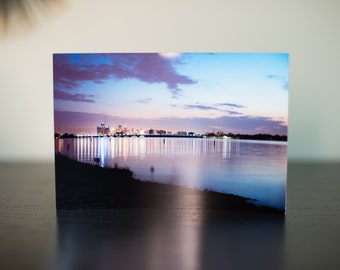 Detroit Skyline during twilight from Belle Isle Curved 4 x 6 Metal Print