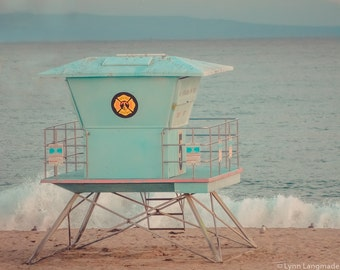 "California Beach Photography - lifeguard station santa cruz beach boardwalk summer photography 8x10 11x14 16x20 blue wall decor ""Lifeguard"""