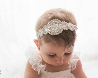 Flower Girl Headband / Headpiece, Rhinestone Headband, Gatsby Headband, Wedding Headband..Bridal Headband / Bridesmaid Headpiece / Baby