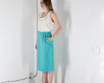 ON SALE Teal Straight Skirt/ Retro Bold Pocket Skirt / Vintage Midi Skirt